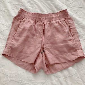 Lightly worn J Crew pink linen shorts size XS